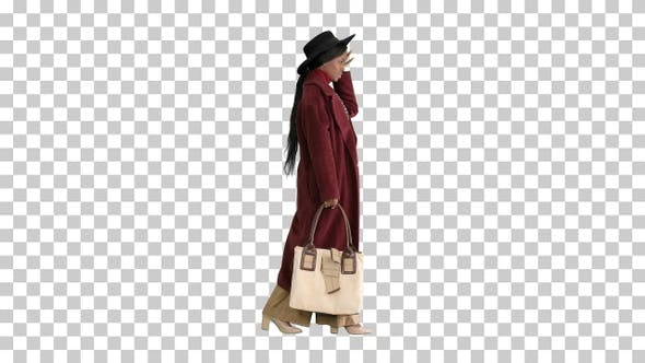 Thumbnail for Pretty american woman in a hat walking, Alpha Channel