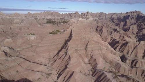Badlands Western Region in Spring Geology Layers Sediment Erosion Topography