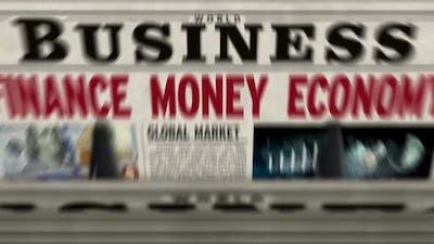 Business, finance, money and economy newspaper printing press