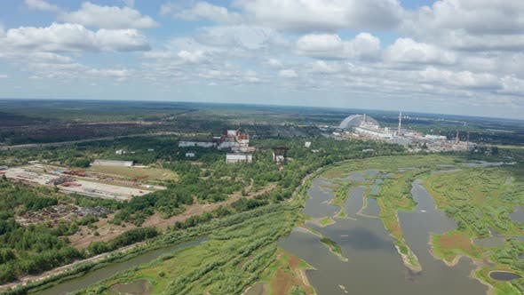Drone Flight Over Territory of Former Power Plant