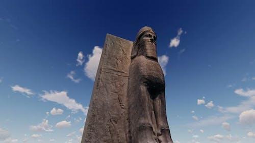 4K Ancient Sumerian Statue