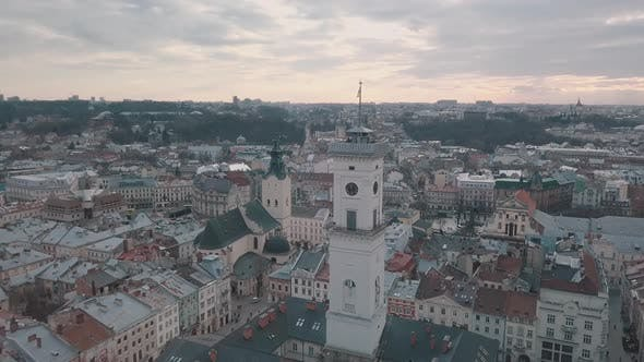Thumbnail for Aerial Panorama of the Ancient European City Lviv, Ukraine. Town Hall, Ratush