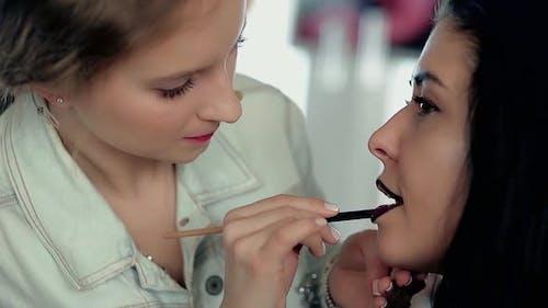 Makeup Artist Applies Make Up