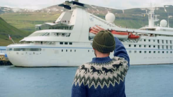 Thumbnail for Sailor or Fisherman Wave To Cruise Ship in Fjord