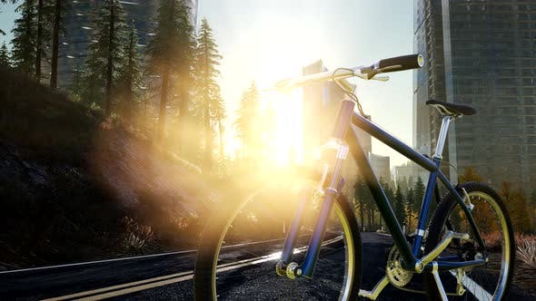 Thumbnail for City Bicycle on the Road at Sunset