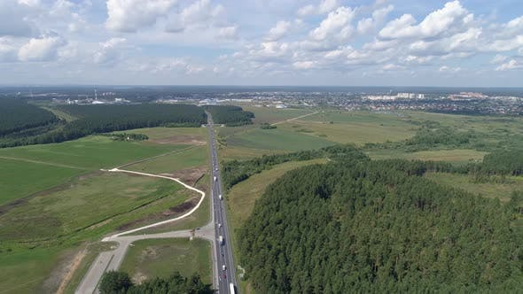 Aerial view of highway with cars. 06