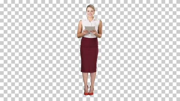 Thumbnail for Happy Young Lady Standing Using Tablet and Looking to The Camera