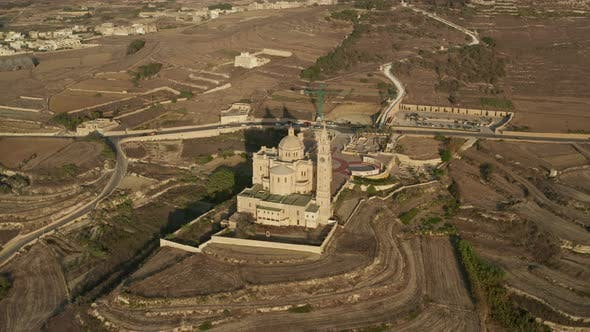 Establishing Wide Shot of Ta' Pinu Church on Gozo, Malta Basilica in the Middle of Nowhere in