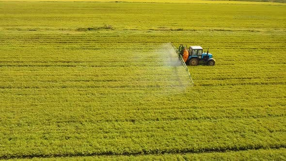 Thumbnail for Tractor Is Spraying Fertilizers Field