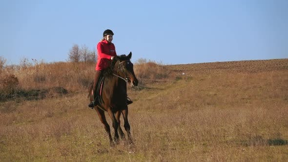 Thumbnail for Girl Riding a Horse Galloping on a Meadow