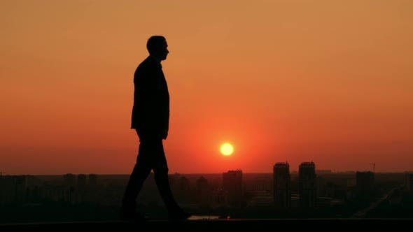Thumbnail for Businessman Posing Outdoors Scenic Town at the Dawn