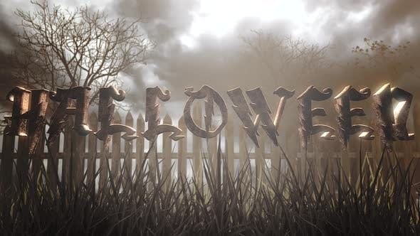Animationstext Halloween und mystischer Halloween-Hintergrund mit dunklem Wald und Nebel