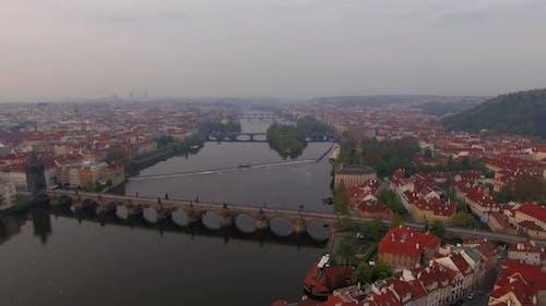 Vltava river and riverside Prague, aerial view