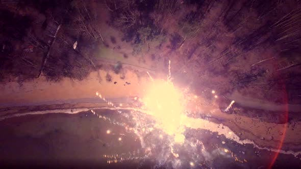 Thumbnail for Aerial view of sparkling fireworks display in night sky.