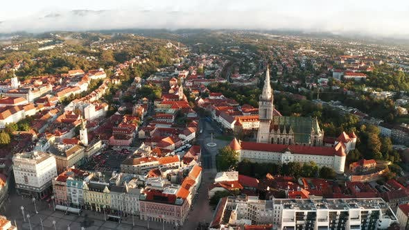 Thumbnail for Aerial View of Zagreb at Sunrise. Croatia