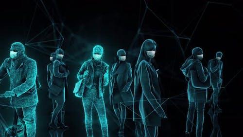 Unrecognizable Peoples Wearing Medical Mask 4k