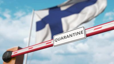 Opening Barrier with QUARANTINE Sign at the Finnish Flag