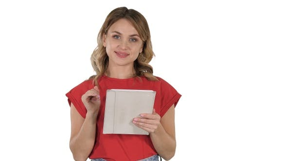Thumbnail for Smiling woman with tablet computer presenting turning pages