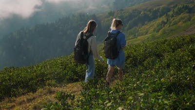 Girls Backpackers in the Highlands