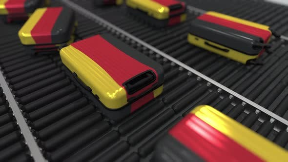 Thumbnail for Suitcases with Flag of Germany Move on Conveyor