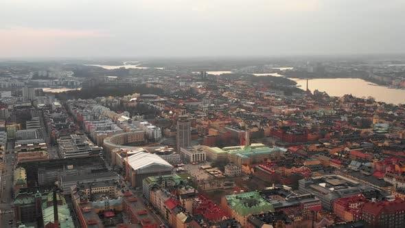 Aerial Panoramic View of Urban Neighbourhood on Sodermalm Island