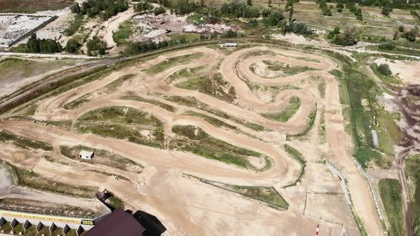 Enduro motocross off road track. Motorcycle professional track.