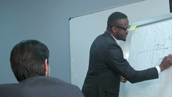Thumbnail for Afro-american Businessman Making Presentation of a Business Plan on the Flipchart