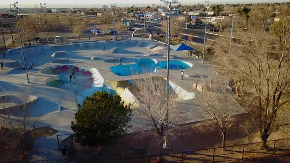 Aerial of skaters practicing in the skates park
