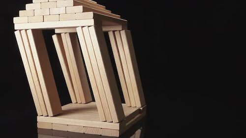 Destruction Of Wooden House By Earthquake - Imitation