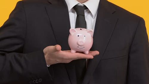 Businessman Putting Coin Into Piggy Bank, Investments, Financing of Project