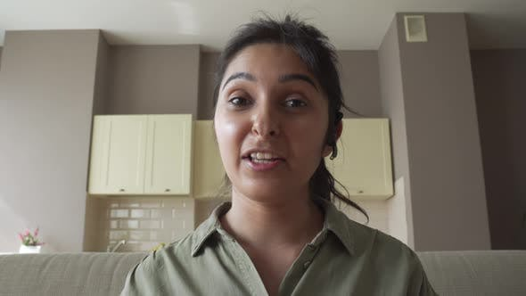 Indian Woman Online Teacher Wear Headset Talking To Webcam Video Call