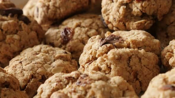 Thumbnail for Panning on chocolate chip cookies pile shallow DOF 4K 2160p 30fps UHD footage - Homemade biscuits wi