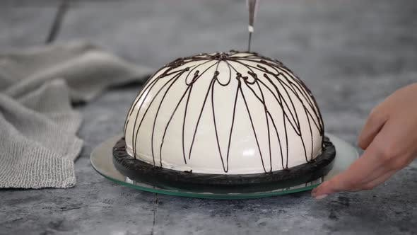 Thumbnail for Pouring Melted Chocolate on Top of a Cake. Pancho Cake with Pineapple and Sour Cream Topped with