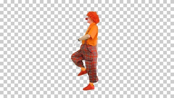 Clown walking by in a funny manner, Alpha Channel