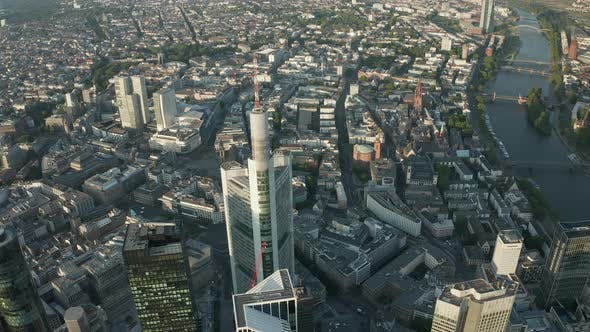 Thumbnail for AERIAL: Frankfurt Am Main Center Skyline in Beautiful Summerlight with Empty Streets Due To