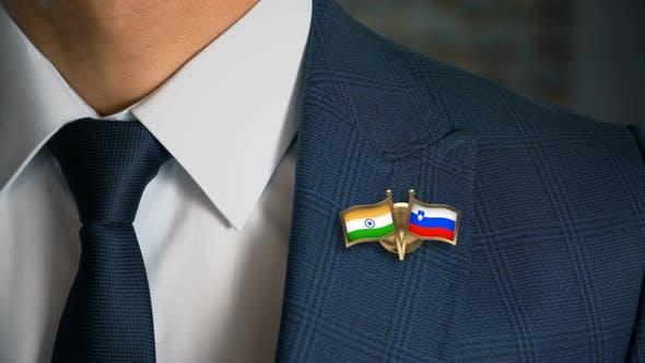Businessman Friend Flags Pin India Slovenia