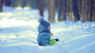 Baby Sits on the Road in Winter