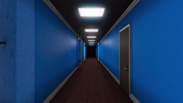 Thumbnail for Long corridor with doors and darkness at end