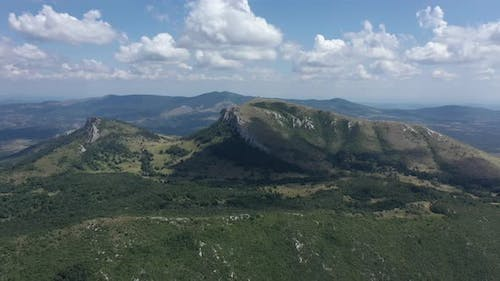 Summer scenery of Stol and Deli Jovan mountains 4K drone footage