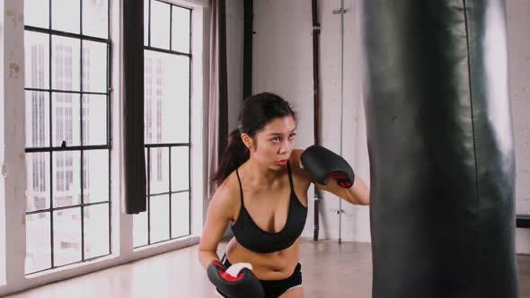 Thumbnail for Athletic Woman Workout Boxing Slow-Motion