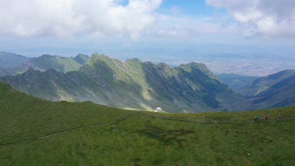 Thumbnail for Mother With Daughters Hiking By The Fagaras Ridge