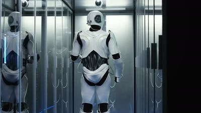 Android Robot Working in Data Center