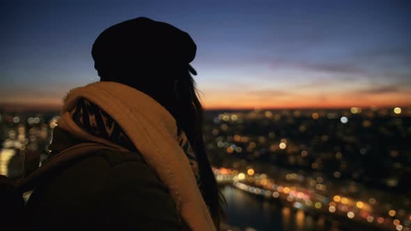 Thumbnail for Rear View Beautiful Happy Young Tourist Woman Watching Incredible Sunset City Sky Background