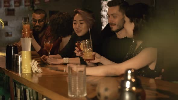Thumbnail for Multiethnic Friends Clinking Glasses at Bar