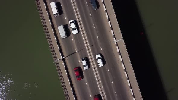 Thumbnail for Aerial View of Road Under a Bridge Urban Traffic Jam