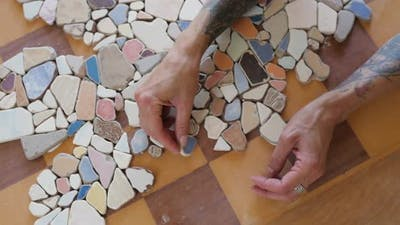 Mosaic of Small Stones on the Table