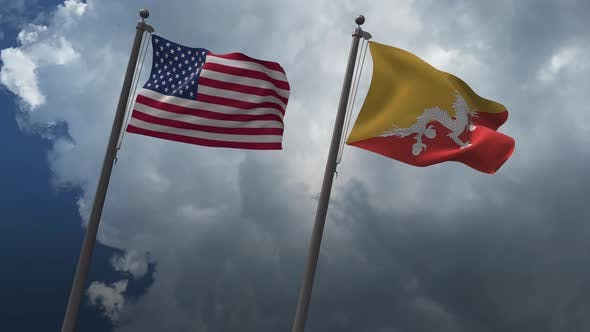 Waving Flags Of The United States And The Bhutan 4K