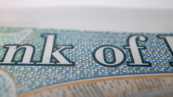 Macro Shot Closeup of a Uk Sterling Pound Note