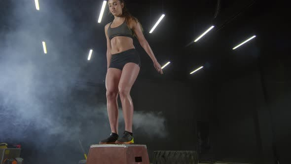 Thumbnail for Fit Woman Practicing Box Jumps