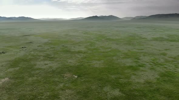 Vast Empty Grassland of Central Asian Lowland